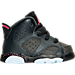 Right view of Girls' Toddler Jordan Retro 6 Basketball Shoes in Anthracite/Black/Hyper Pink