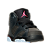 Three Quarter view of Girls' Toddler Air Jordan Retro 6 Basketball Shoes in Anthracite/Black/Hyper Pink
