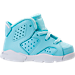 Right view of Girls' Toddler Jordan Retro 6 Basketball Shoes in Still Blue/White/White