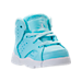 Three Quarter view of Girls' Toddler Jordan Retro 6 Basketball Shoes in Still Blue/White/White
