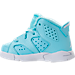 Left view of Girls' Toddler Jordan Retro 6 Basketball Shoes in Still Blue/White/White
