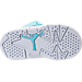 Bottom view of Girls' Toddler Jordan Retro 6 Basketball Shoes in Still Blue/White/White