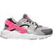 Right view of Girls' Grade School Nike Huarache Run Running Shoes in Wolf Grey/White/Cool Grey/Hyper Pink
