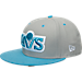 Front view of New Era Cleveland Cavaliers NBA 9FIFTY Snapback Hat in Grey/Teal