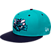 Front view of New Era Charlotte Hornets NBA 9FIFTY Snapback Hat in Purple/Teal