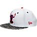 Front view of New Era Chicago Bulls NBA Retro 3 OG Hook Snapback Hat in White
