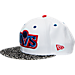 Front view of New Era NBA Cleveland Cavaliers Retro 3 OG Hook Snapback Hat in White/Grey