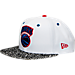Front view of New Era New York Knicks NBA Retro 3 OG Hook Snapback Hat in White