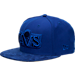 Front view of New Era Cleveland Cavaliers NBA Retro 12 Hook Snapback Hat in Deep Royal Blue
