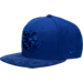 Front view of New Era Charlotte Hornets NBA Retro 12 Hook Snapback Hat in Deep Royal Blue