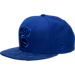 Front view of New Era New York Knicks NBA Retro 12 Hook Snapback Hat in Deep Royal Blue