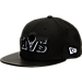 Front view of New Era Cleveland Cavaliers NBA Retro 3 Hooks Snapback Hat in Black