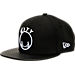 Front view of New Era Golden State Warriors NBA Retro 3 Hooks Snapback Hat in Black