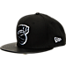 Front view of New Era New York Knicks NBA Retro 3 Hooks Snapback Hat in Black