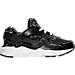 Right view of Girls' Preschool Nike Huarache Run Print Running Shoes in Black/White/Lava Glow