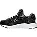 Left view of Girls' Preschool Nike Huarache Run Print Running Shoes in Black/White/Lava Glow