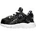 Left view of Girls' Toddler Nike Huarache Run Running Shoes in Black/White/Lava Glow