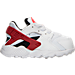 Right view of Boys' Toddler Nike Huarache Run Running Shoes in White/Gym Red/Bright Crimson/Black