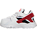 Left view of Boys' Toddler Nike Huarache Run Running Shoes in White/Gym Red/Bright Crimson/Black