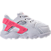 Right view of Girls' Toddler Nike Huarache Run Running Shoes in White/Racer Pink