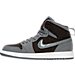 Left view of Girls' Preschool Air Jordan Retro 1 High Basketball Shoes in Cool Grey/Vivid Pink/Black/White