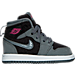 Right view of Girls' Toddler Jordan Retro 1 High Basketball Shoes in Cool Grey/Vivid Pink/Black/White