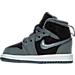 Left view of Girls' Toddler Jordan Retro 1 High Basketball Shoes in Cool Grey/Vivid Pink/Black/White