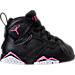 Right view of Girls' Toddler Jordan Retro 7 Basketball Shoes in Black/Vivid Pink
