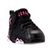 Three Quarter view of Girls' Toddler Jordan Retro 7 Basketball Shoes in Black/Vivid Pink