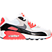 Right view of Boys' Grade School Nike Air Max 90 Premium Mesh Running Shoes in White/Cool Grey/Red/Black