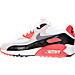 Left view of Boys' Grade School Nike Air Max 90 Premium Mesh Running Shoes in White/Cool Grey/Red/Black