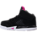 Left view of Girls' Toddler Jordan Retro 5 Basketball Shoes in Black/Deadly Pink/White