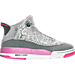 Right view of Girls' Grade School Jordan Dub Zero (3.5y-9.5y) Basketball Shoes in Wolf Grey/Vivid Pink/Cool Grey/White