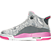 Left view of Girls' Grade School Jordan Dub Zero (3.5y-9.5y) Basketball Shoes in Wolf Grey/Vivid Pink/Cool Grey/White