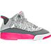 Right view of Girls' Preschool Jordan Dub Zero Basketball Shoes in Wolf Grey/Vivid Pink/Cool Grey