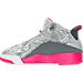 Left view of Girls' Preschool Jordan Dub Zero Basketball Shoes in Wolf Grey/Vivid Pink/Cool Grey