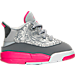 Right view of Girls' Toddler Jordan Dub Zero Basketball Shoes in Wolf Grey/Vivid Pink/Grey/White
