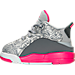 Left view of Girls' Toddler Jordan Dub Zero Basketball Shoes in Wolf Grey/Vivid Pink/Grey/White