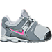 Right view of Girls' Toddler Nike Shox Current Running Shoes in Grey/Pink