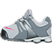 Left view of Girls' Toddler Nike Shox Current Running Shoes in Grey/Pink