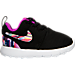 Right view of Girls' Toddler Nike Roshe One Print Casual Shoes in Black/Hyper Violet/Hyper Violet/White