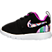 Left view of Girls' Toddler Nike Roshe One Print Casual Shoes in Black/Hyper Violet/Hyper Violet/White
