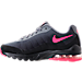 Left view of Girls' Grade School Nike Air Max Invigor Running Shoes in Black/Racer Pink/Cool Grey