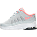 Left view of Girls' Toddler Nike Air Max Invigor Running Shoes in White/Grey/Hot Lava
