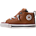 Left view of Boys' Toddler Converse Chuck Taylor All-Star Street Leather Casual Shoes in Raw Sugar/Terra Red/Midnight