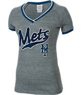 Women's New Era New York Mets MLB Tri-Blend Flocked Jersey T-Shirt