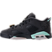 Left view of Girls' Grade School Air Jordan Retro 6 Low (3.5y-9.5y) Basketball Shoes in Anthracite/Mint Foam/Metallic