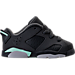Right view of Girls' Toddler Jordan Retro 6 Low Basketball Shoes in Anthracite/Mint Foam/Metallic