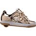 Right view of Girls' Grade School Heelys Split Wheeled Skate Shoes in Metallic Gold/White/Gum