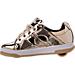 Left view of Girls' Grade School Heelys Split Wheeled Skate Shoes in Metallic Gold/White/Gum